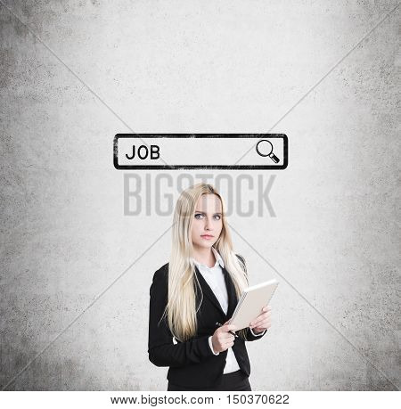 Blond Girl With Notebook Looking For A Job