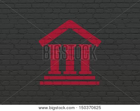 Law concept: Painted red Courthouse icon on Black Brick wall background