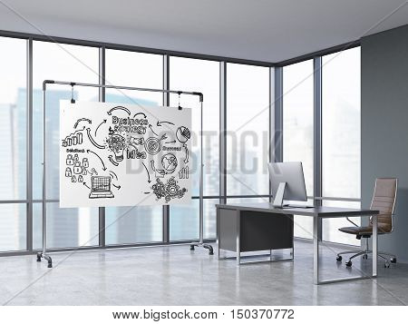 Room with panoramic windows computer table and whiteboard with business icons. Concept of CEO office. 3d rendering