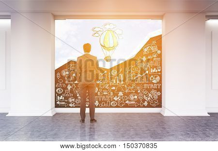 Rear view of man looking at blackboard with white business sketches and sky with hot air balloon in sunlit office lobby. Concept of no limits to perfection. 3d rendering. Mock up. Toned image