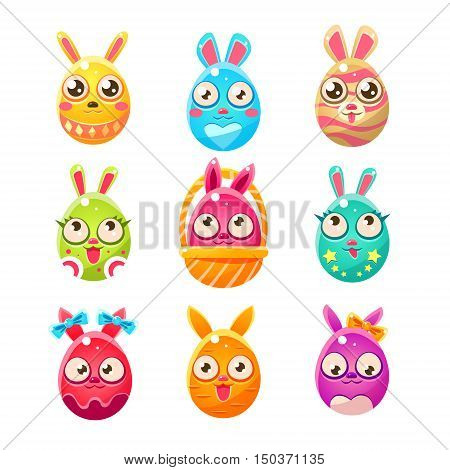 Egg Shaped Easter Bunny In Different Designs.. Set Of Bright Color Vector Icons Isolated On White Background. Cute Childish Animal Characters Design.
