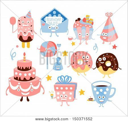 Kid Birthday Party Sweets And Attributes. Girly Colors Stylized Smiling Characters With Celebration Decorations. Flat Vector Stickers On White Background.