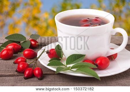 cup of tea rosehip berries on a dark wooden background.