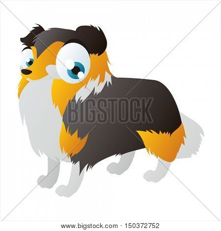 vector cute isolated animal character illustration. Funny Collie Dog