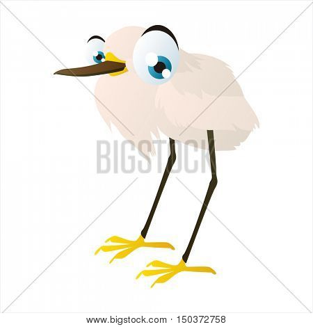 vector cute isolated animal character illustration. Funny Egret