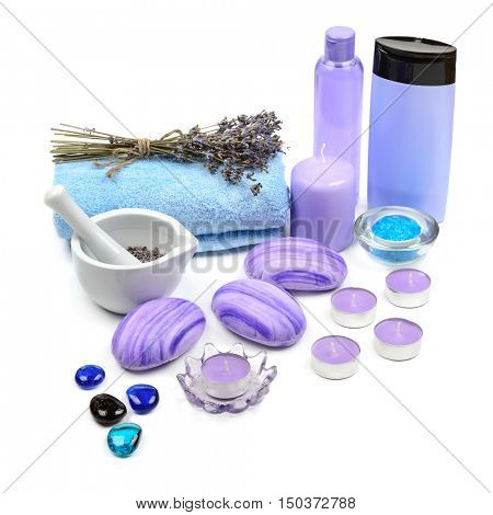 Soap, shampoo, towel, lavender oil, scented candles isolated on white background. Everything you need for a spa.