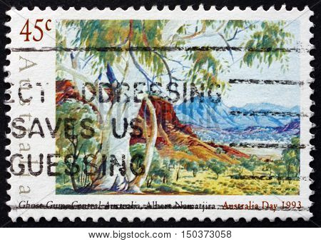 AUSTRALIA - CIRCA 1993: a stamp printed in Australia shows Ghost Gum Central Australia Watercolor Painting by Albert Namatjira circa 1993