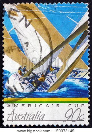 AUSTRALIA - CIRCA 1987: a stamp printed in Australia shows Yachts America's Cup circa 1987