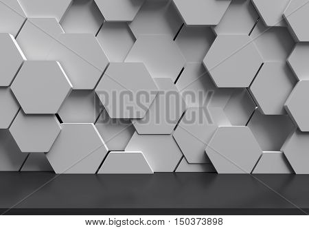 Abstract futuristic dark floor with white hexagons background, 3D rendering