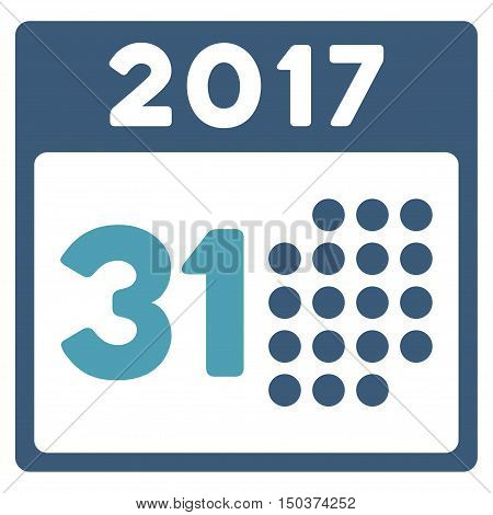 Last 2017 Month Day vector pictogram. Style is flat graphic symbol, cyan and blue colors, white background.