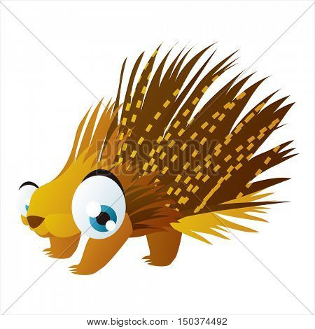 vector cute isolated animal character illustration. Funny Porcupine