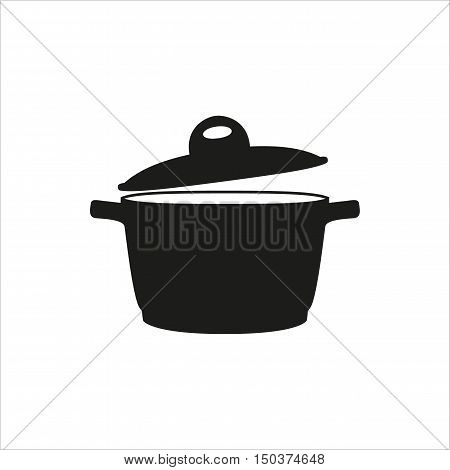 pan saucepan pot casserole cooker stewpan icon Created For Mobile Web Decor Print Products Applications. Black icon set isolated on button. Vector illustration.