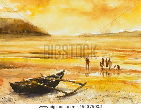 Group of people on a beach, fishing boat in foreground. Picture painted with watercolors.