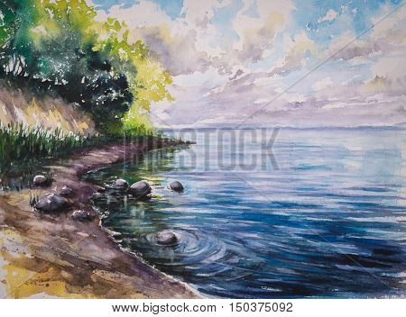 Stone beach under the cliff .Picture created with watercolors