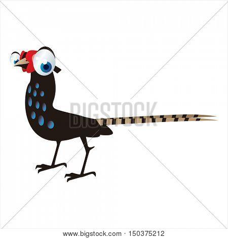 vector cute isolated animal character illustration. Bird. Funny Pheasant