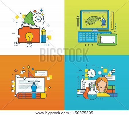 Concept of creative design and creation, online training, education, technical support. Color Line icons collection. Vector design for website, banner, printed materials and mobile app.
