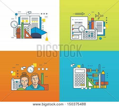 Concept of modern education and students, academic disciplines, tools for training, the strategic planning. Color Line icons collection. Vector design for website, banner, printed materials.