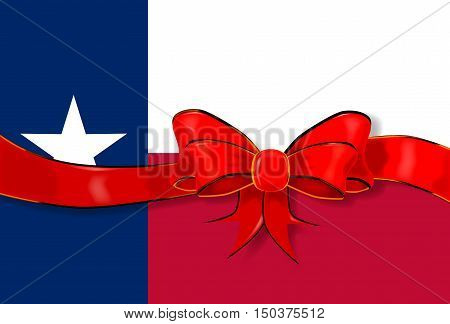 The flag of the USA state of TEXAS with red ribbon