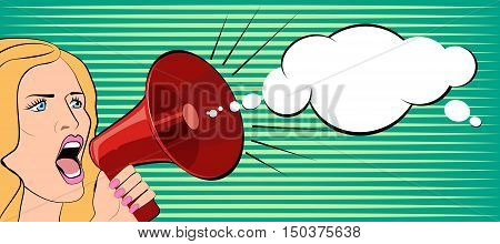 The woman speaks in a megaphone. Vector illustration