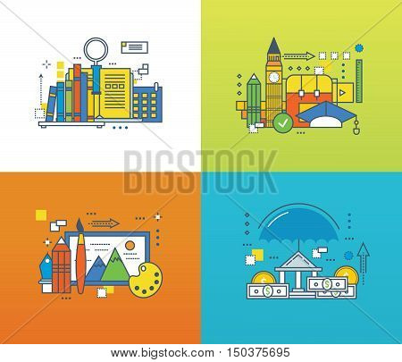 Concept of creativity, language school, search for knowledge and learning of foreign languages, deposit insurance, and finance. Color Line icons collection. Vector design for website, banner.