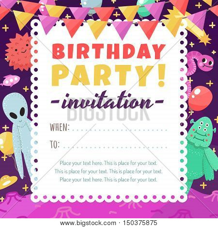 Birthday party funny and cute space invitation with cartoon aliens and monsters. For kids and adults.