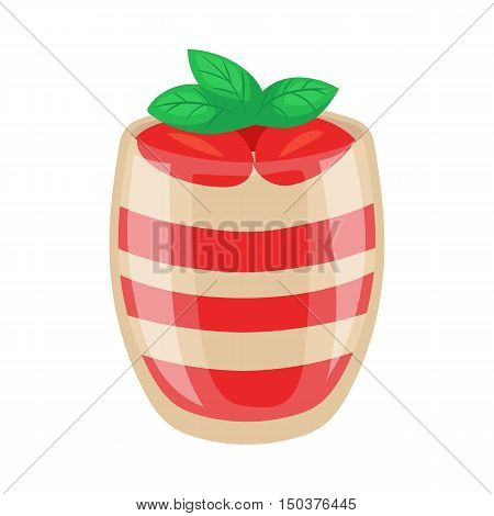 Strawberry parfait dessert in a shiny glass, cartoon vector illustration isolated on white background. Strawberry and yogurt layered dessert, yummy looking sweets