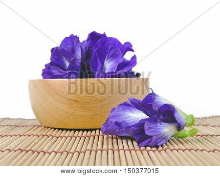 Blue Pea Or Butterfly Pea Close Up On Background