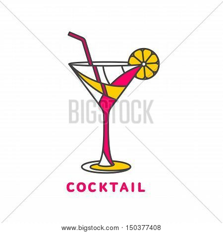 colorful abstract cocktail logo, illustration isolated on white background. Modern alcoholic beverage icon, cocktail glass symbol with straw and umbrella. Artistic cocktail logo