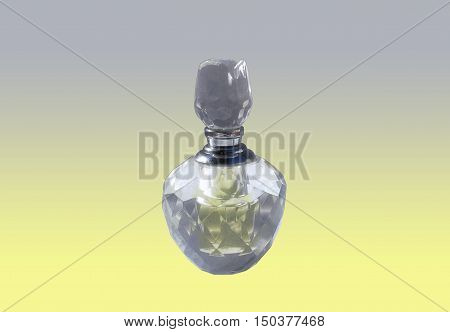 A soft photograph of a vintage imperfect handmade cut crystal perfume bottle (with dried water bead marks and other smudges visible) on a soft yellow and grey background - whites neutralised by means of lens/filter