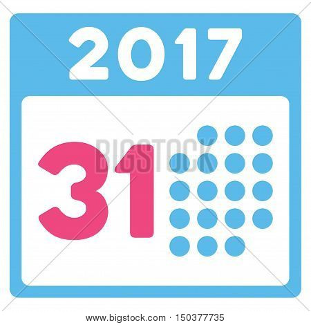 Last 2017 Month Day vector pictograph. Style is flat graphic symbol, pink and blue colors, white background.