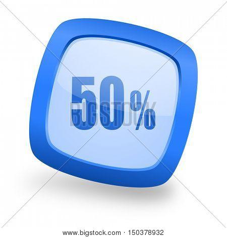 50 percent blue glossy web design icon