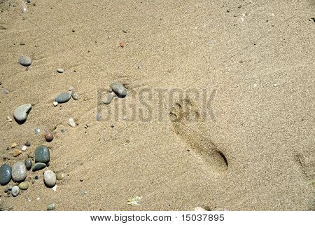 sand stones with footprint