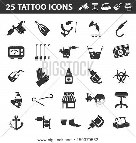 Tattoo, parlor, machine 25 black simple icon.Tattoo studio designed icons for web and mobile.