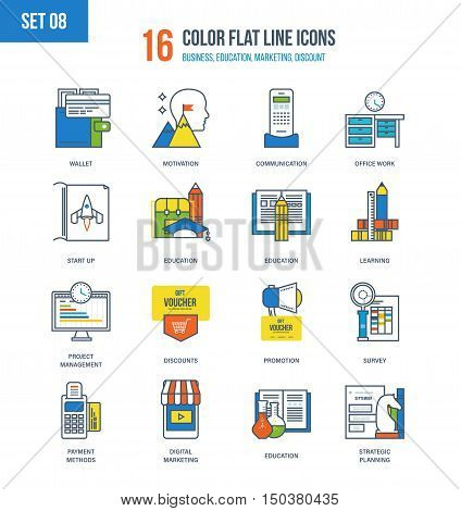Color Flat Line icons set of strategic planning and development, education and office work, methods of payment and digital marketing, motivation and communication, start-up. Editable Stroke.