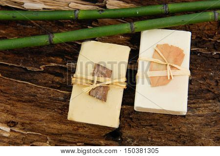 bamboo grove, soap with stone on driftwood wood