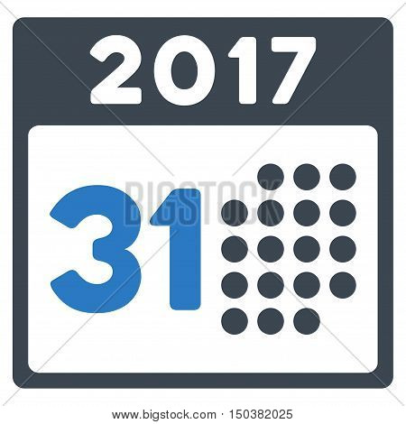 Last 2017 Month Day vector icon. Style is flat graphic symbol, smooth blue colors, white background.