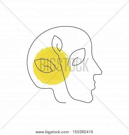 Human head, Pollution icon illustration made in line style. Environmental protection. Web design with symbol of planet ecology, concept for earth conservation. Vector eps10
