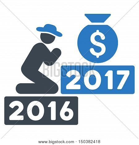 Pray for Money 2017 vector pictogram. Style is flat graphic symbol, smooth blue colors, white background.