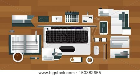 White identity template with Computer glasses coffee calendar tape origami elements. Vector company style for brandbook guideline and Pens mugs CDs books business cards letterhead flag Card Portfolio employees Tablet