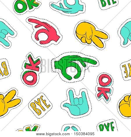 Retro style drawing social hand gestures seamless pattern with stitch patch icons for pins or stickers. EPS10 vector.
