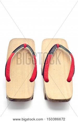 Geta Is A Traditional Footwear Of Japan.old Geta On White Background