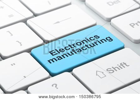 Industry concept: computer keyboard with word Electronics Manufacturing, selected focus on enter button background, 3D rendering