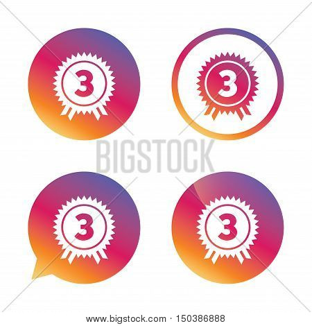 Third place award sign icon. Prize for winner symbol. Gradient buttons with flat icon. Speech bubble sign. Vector