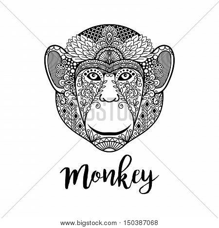Monkey hand drawn head vector illustration with ethnic motifs