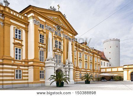MELK, AUSTRIA - September 4, 2016: Facade of the Benedictine Abbey at Melk Danube Valley Austria