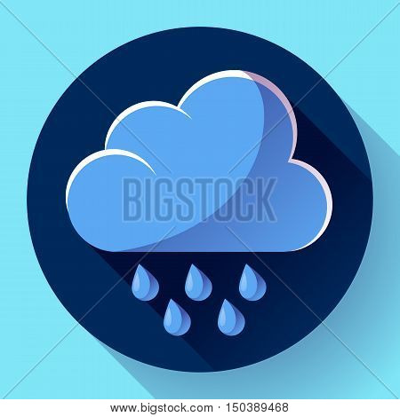 Vector flat color weather icon meteorology icon with long shadow - rain