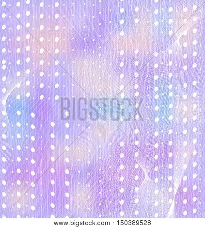 Gentle lilac background with white dots and guilloche. Vector illustration.