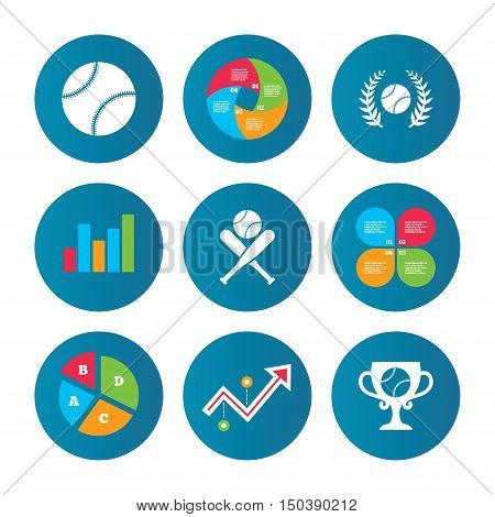 Business pie chart. Growth curve. Presentation buttons. Baseball sport icons. Ball with glove and two crosswise bats signs. Winner award cup symbol. Data analysis. Vector
