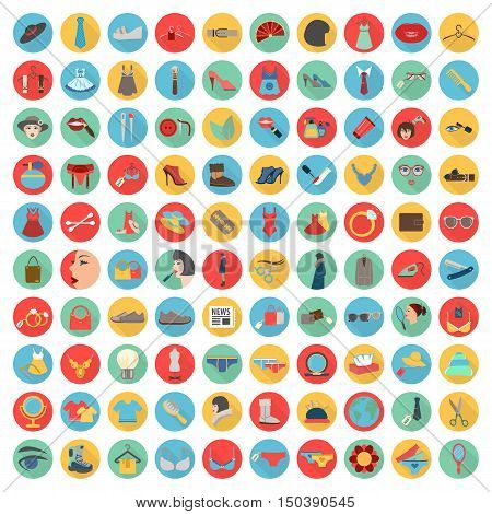 fashion, beuty, shoping 100 flat icons set for web design