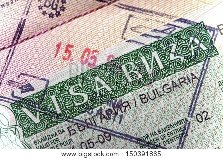 visa of Bulgaria on the page of the passport close up